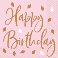 16 Happy Birthday Servietten Flitter roségold