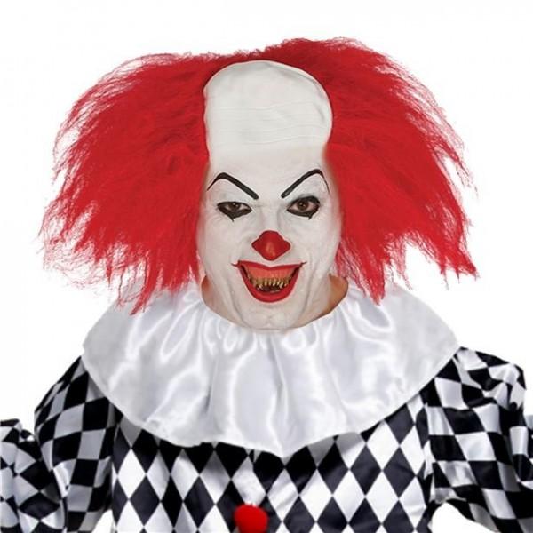 Griezelige horror clown pruik rood