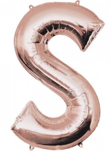 Letter S foil balloon rose gold 41cm