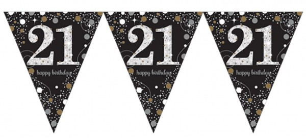 Golden 21st Birthday pennant chain 3.96m