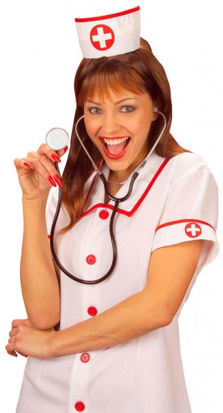 Krankenschwesterhaube Weiß-Rot Elisabeth