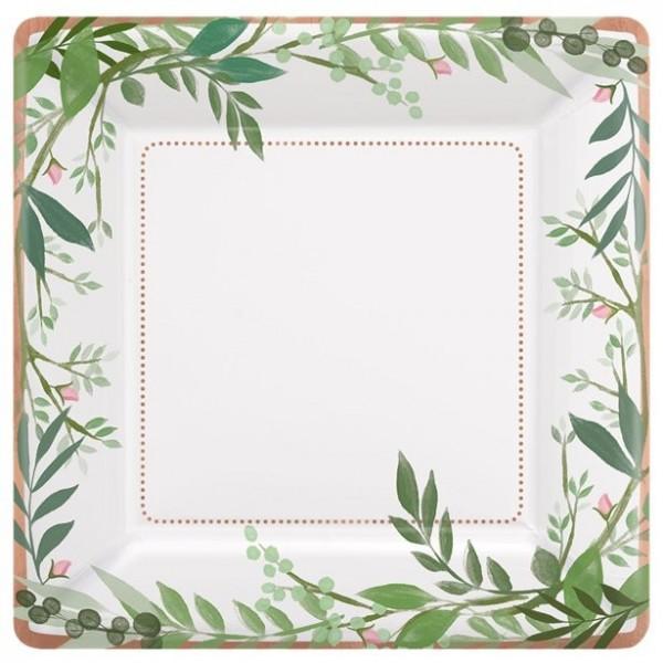 8 Grüne Liebe Pappteller 26cm