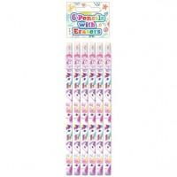 6 Einhorn Bleistifte mit Radiergummi