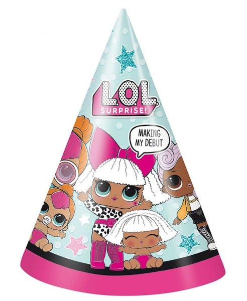 8 LOL Suprise party hats 16cm
