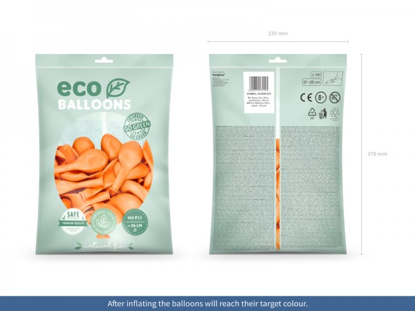 100 Eco Pastell Ballons pfirsich 26cm 2