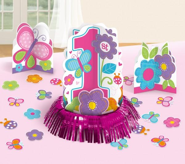 Sweet First Birthday Girl Tischdeko Set Pink