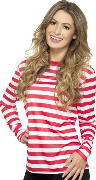 Koszula w paski z długim rękawem unisex czerwono-biała