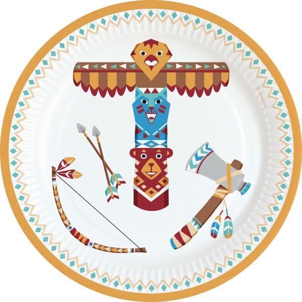 8 Indianerdorf Pappteller 18cm
