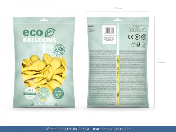 100 Eco metallic Ballons zitronengelb 30cm