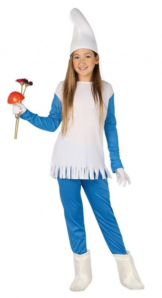 Blau-Weißes Zwergenkostüm für Mädchen