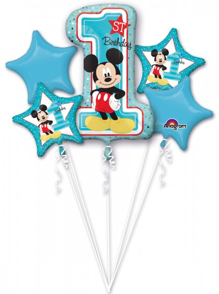 5 Ballons Mickey Mouse 1 Geburtstag blau