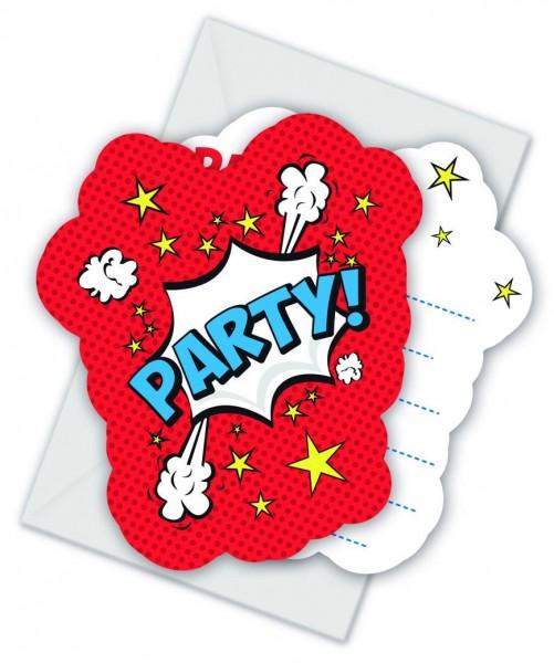 6 Comic Party Einladungskarten
