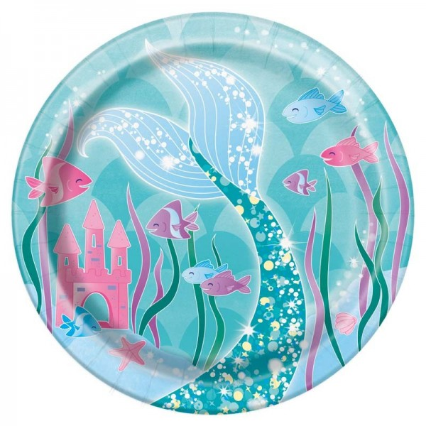 8 Magical Mermaid Sirena paper plates 18cm