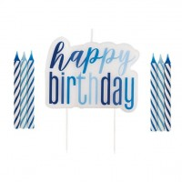 Geburtstags-Tortenkerzen-Set 5-teilig blau
