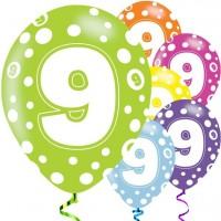 6 Fancy 9th Birthday Luftballons 28cm