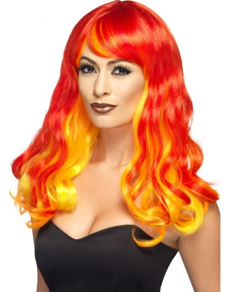 Devil red long hair wig