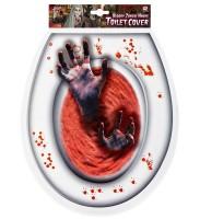 Blutiger Toilettendeckel Aufkleber für Halloween