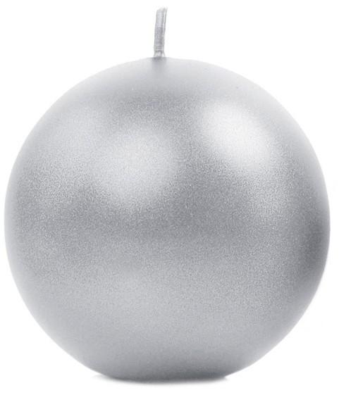 6 velas bola Torino plata metalizado 8cm