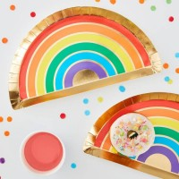 8 Regenbogen Pappteller 26 x 28cm
