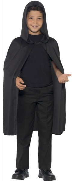 Black cape with hood for children