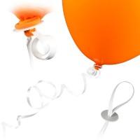 100 Ballonverschlüsse mit Band - Weiß