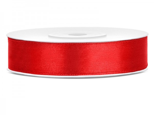 25m satin gift ribbon red 12mm wide