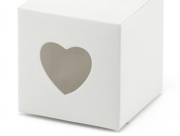 10 coffrets cadeaux avec des coeurs blancs 5 x 5 x 5cm