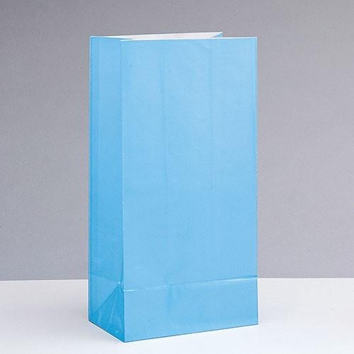 12 papieren cadeauzakjes Valentina lichtblauw