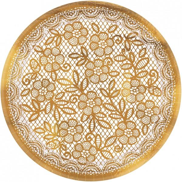 Talerz z haftem 8 kwiatów 18 cm