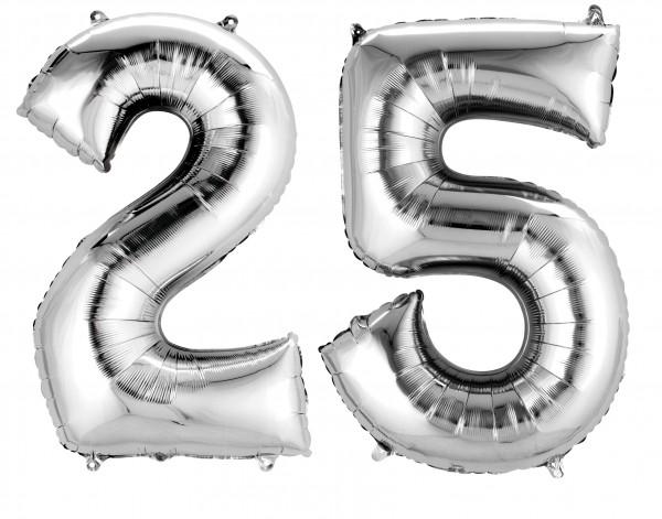 Foil balloon number 25 silver metallic 40cm