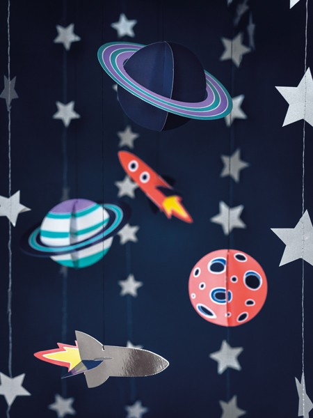 5 artículos de decoración Space Party