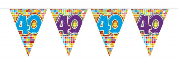 Groovy 40th Birthday pennant chain 3m