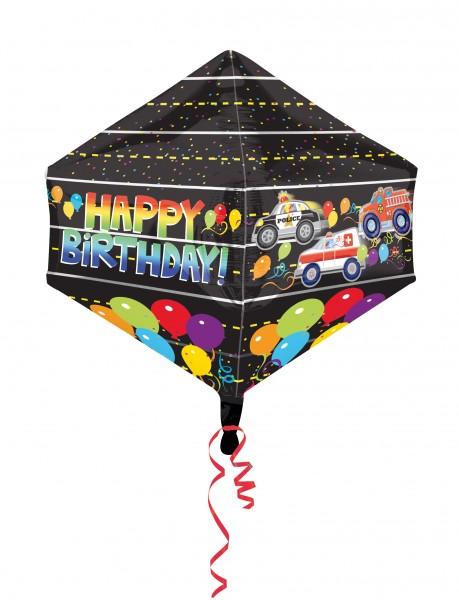 Geburtstagsballon mit Einsatzfahrzeugen