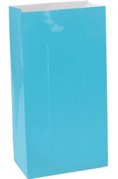 12 Azurblaue Papiertüten Paloma 24cm