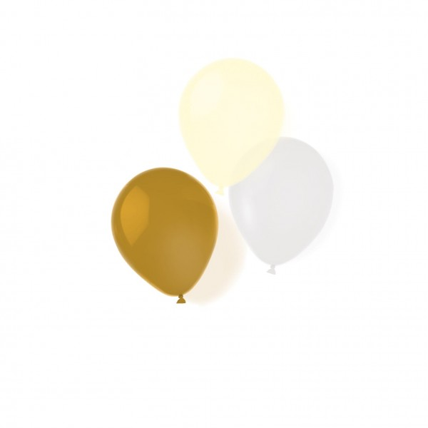 8 Golden Surprise balloons 25.4cm