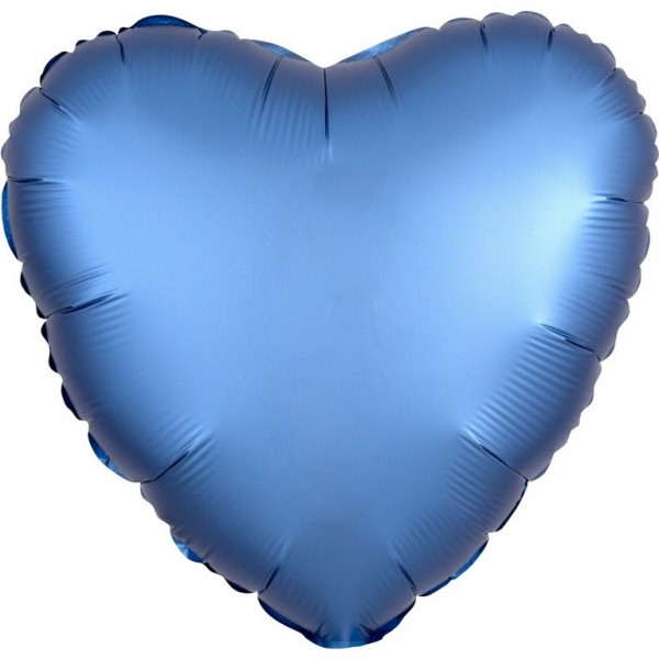 Shiny blue heart balloon 43cm