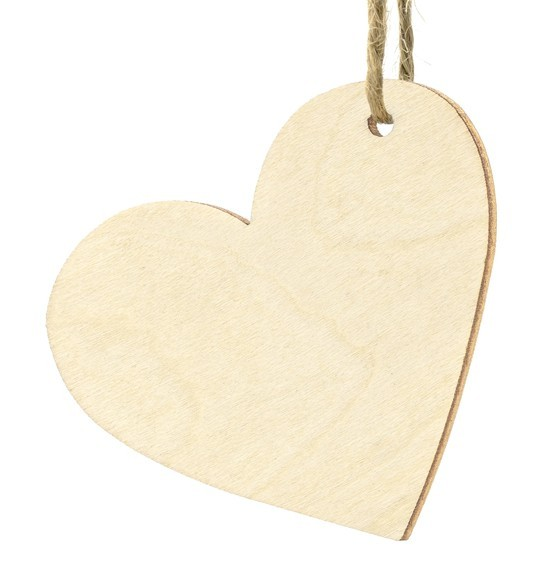 10 wooden heart pendants 6 x 5cm