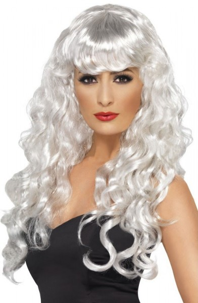 Wig long hair curls white with bangs