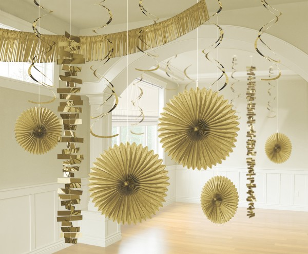 Zestaw do dekoracji pokoju złoty 18 sztuk