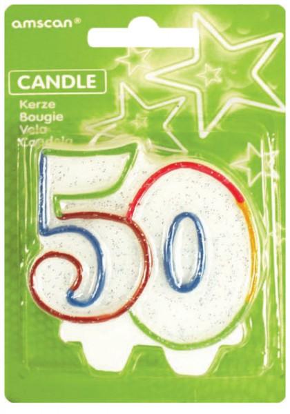 Vela de pastel de cumpleaños número 50 Fiesta de cumpleaños colorida
