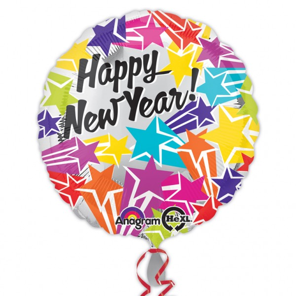 Ballon en aluminium coloré d'étoiles du nouvel an 45cm