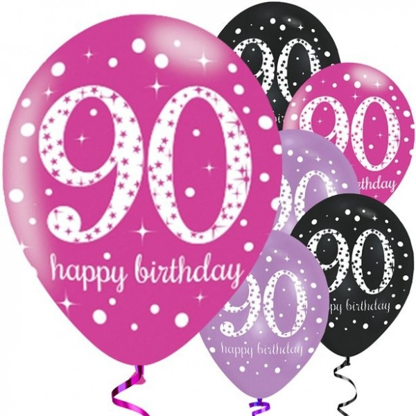 6 Pinker 90.Geburtstag Latexballons 28cm
