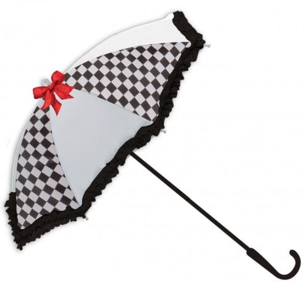 Weiß-Schwarzer Zier-Regenschirm mit Schleife