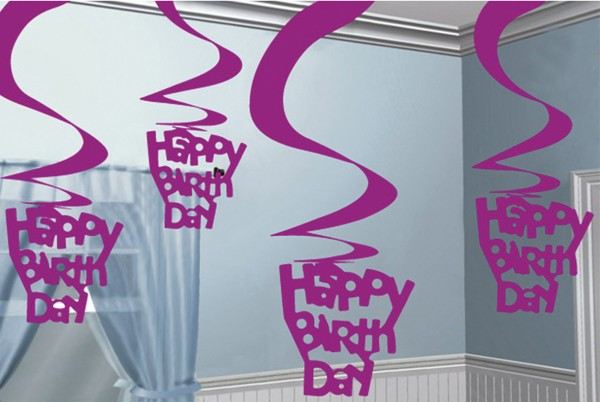 Happy Birthday Celebration swirl hanging decoration pink 5x61cm