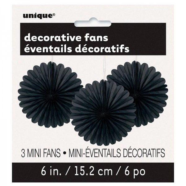 Deco waaier bloem Black And White Party 40cm