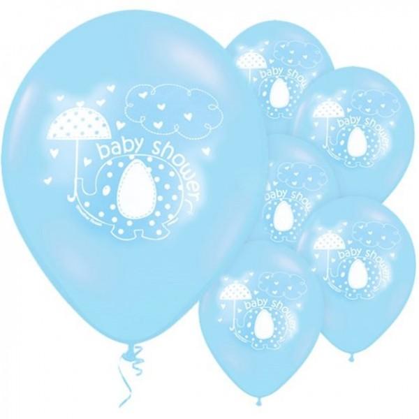 8 globos bebé elefante azul 30cm