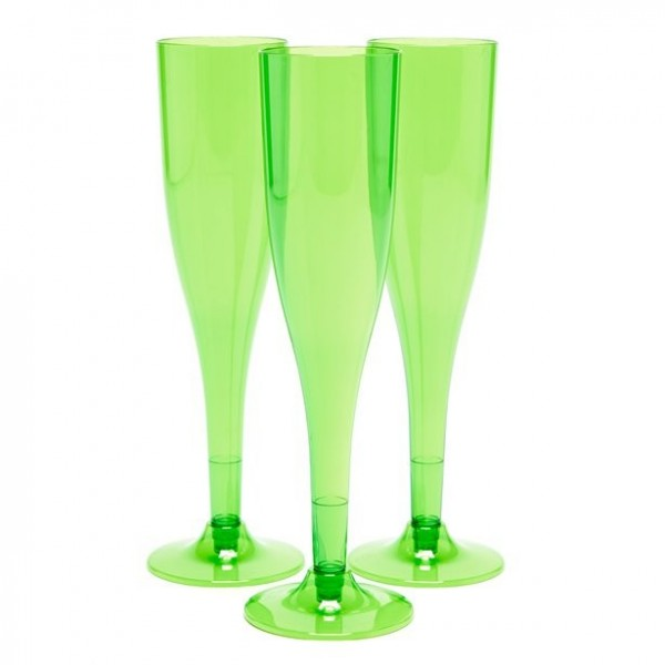 20 plastic champagne glasses green 162ml