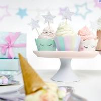 6 Einhorn Twinkle Cupcake Umrandungen