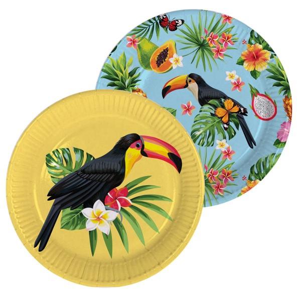 8 platos de fiesta hawaianos tucán 23cm