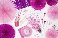 3 Papierrosetten Partystar rosa